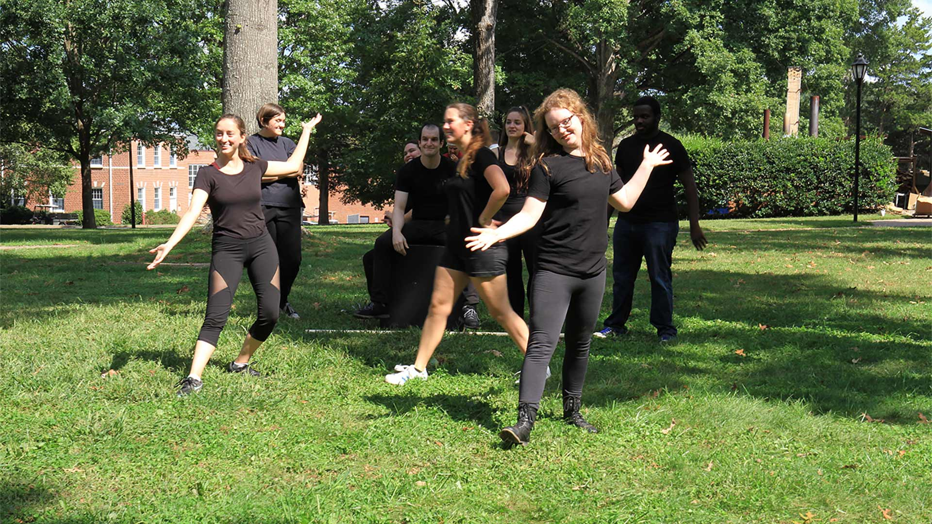 "Theatre students performed a combat scene — look for them in the upcoming play ""She Kills Monsters"", on stage this fall!"