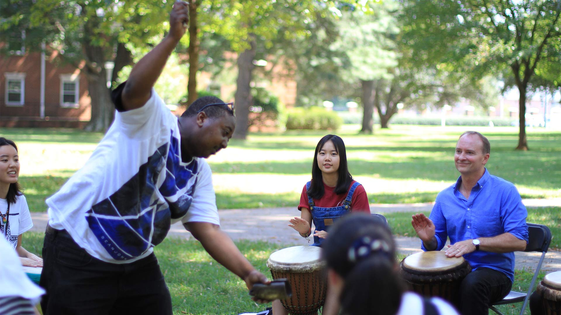 A drum circle gave everyone the opportunity to make a little music together.