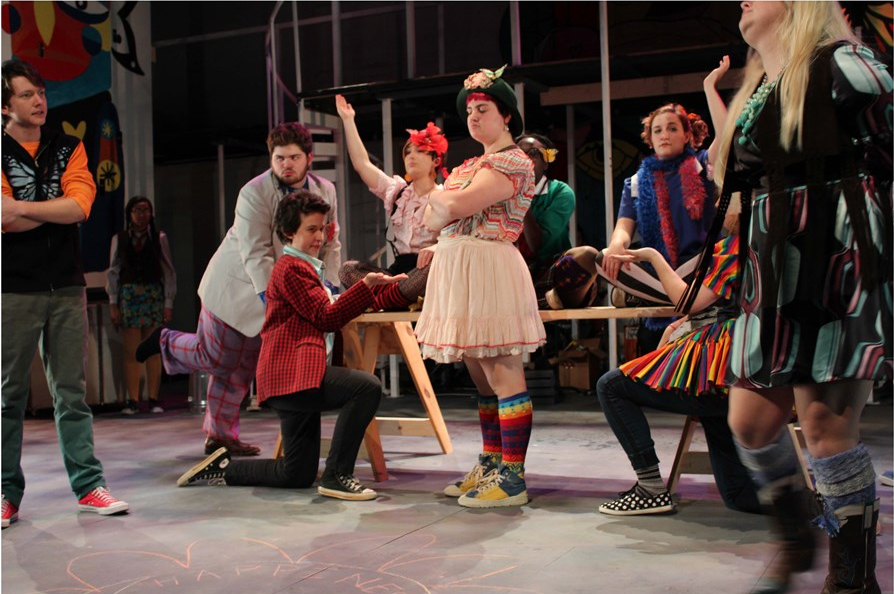 "Scene from ""Godspell"" a Guilford College Theatre Production in 2016."