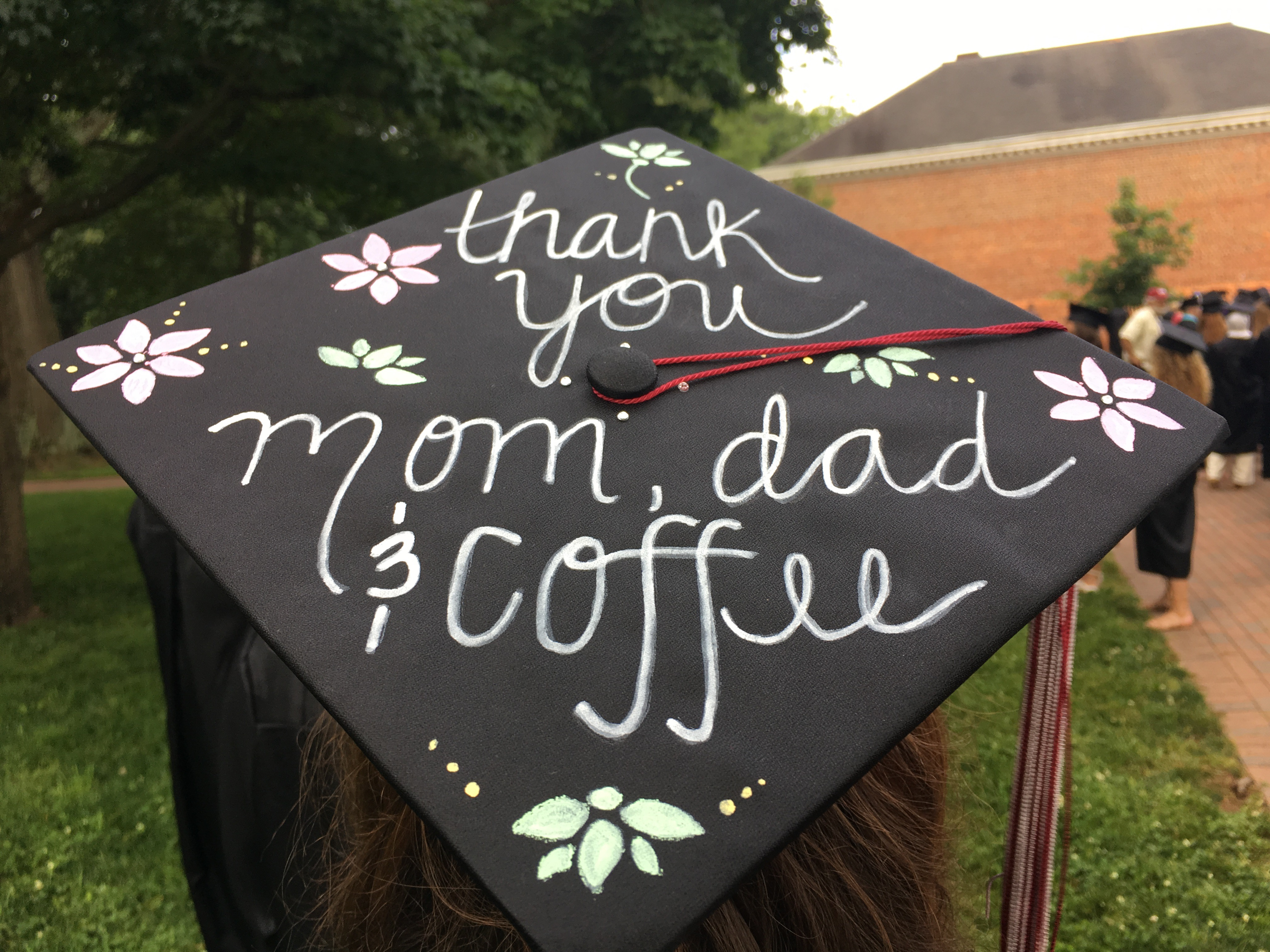 This decorated graduation cap says it all.
