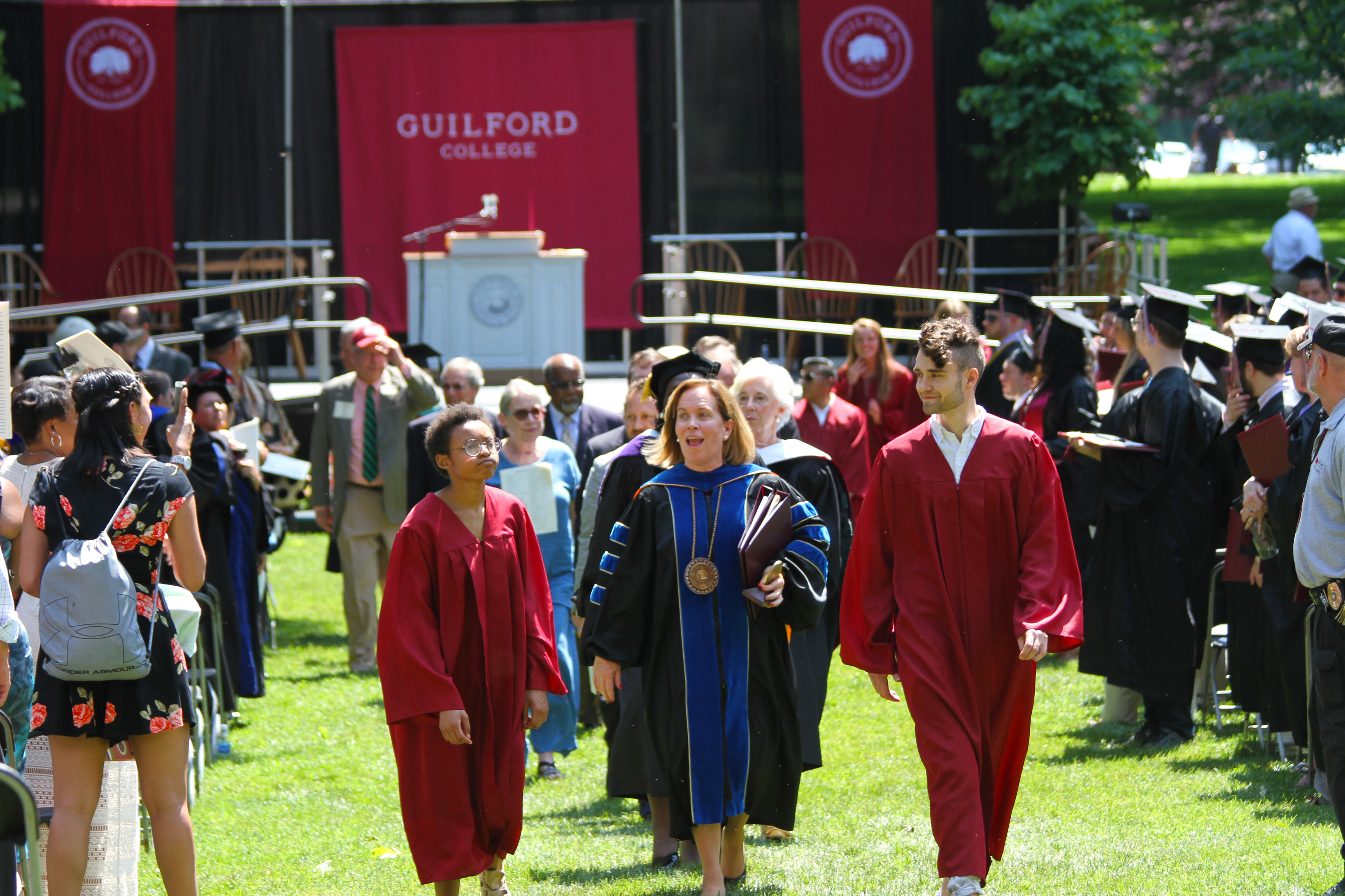 President Jane Fernandes leads the faculty procession.