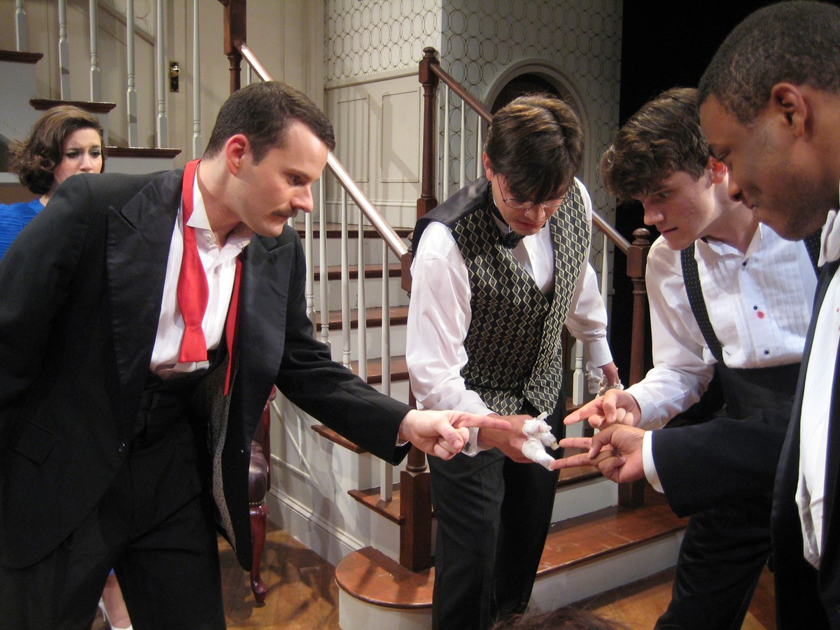 "Scene from ""Rumors by Neil Simon"" a Guilford College Theatre Production in 2014."