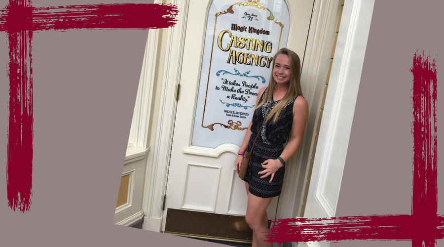 Shannon Petsch, Guilford College Student, stands outside the casting agency door at Disney.