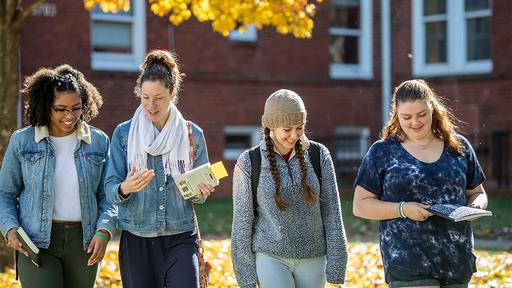 Guilford College students walk together across campus in the fall.