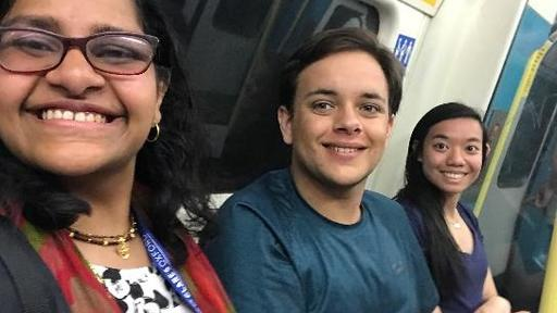 Student Ramya Krishna '20 takes a photo with her hello travelers on the train.