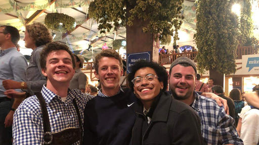 Guilford students including Jameson Lynch take a photo and show off their big smiles while in Munich.