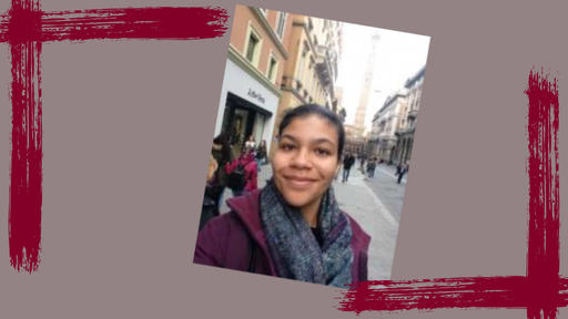 Student Lila Jones takes a selfie in Bologna, Italy.